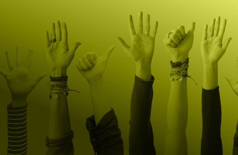 Banner of students raising hands to volunteer