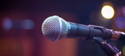 Image of a microphone on a soft background